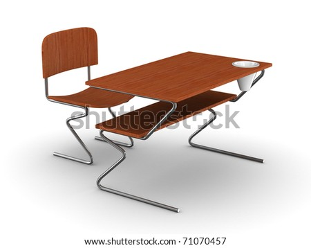 School desk and chair. Isolated 3D image - stock photo