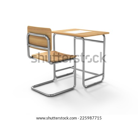 school desk and chair on white background - stock photo