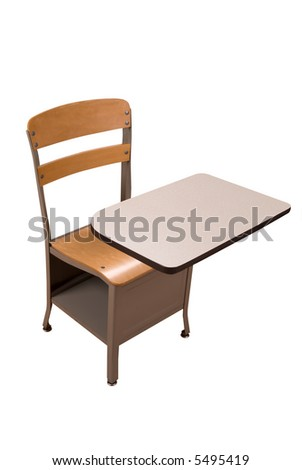 School desk with an apple isolated over a white background with a clipping path - stock photo