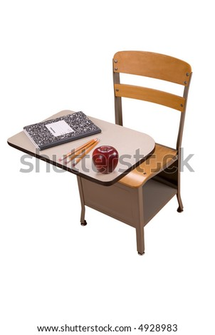 School desk with book, pencils and an apple isolated over a white background - stock photo
