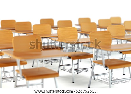 School desk with chair in classroom. Wooden furniture on white background. 3D illustration