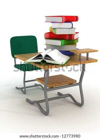 School desk with textbooks. 3D image. - stock photo
