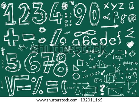School Doodle numbers and mathematical symbols - stock photo