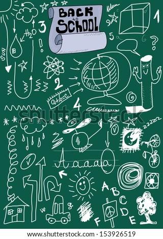 School Doodle texture, back to school - stock photo