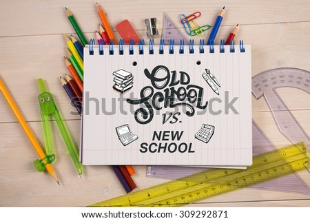 school doodles against students table with school supplies - stock photo