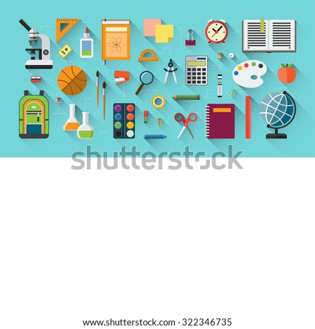 School education banner in flat style. Icon set of school supplies - textbook, notebook, pen, pencil, paints, stationary, training aids, school bag, ball etc. Space for text. Rasterized copy - stock photo