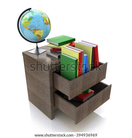 School education concept. Textbooks, globe. 3d in the design of information related to education and knowledge - stock photo