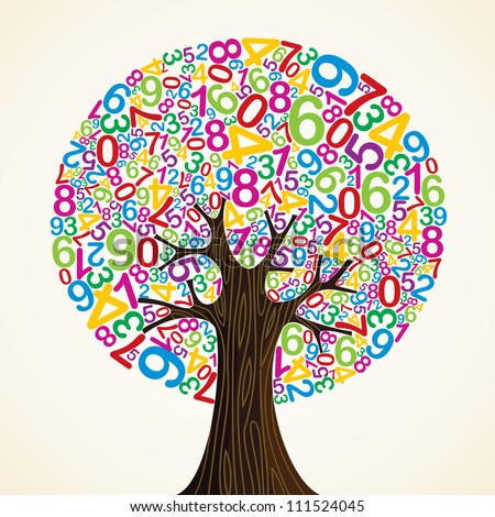 School education concept tree made with numbers. - stock photo