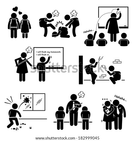 School Education Social Problem Student Teacher Stick Figure Pictogram Icon Clipart - stock photo