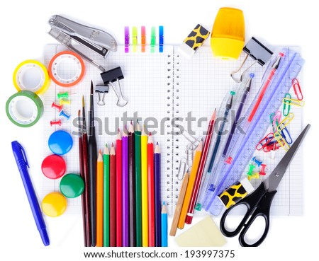 School education supplies items isolated on a white background - stock photo
