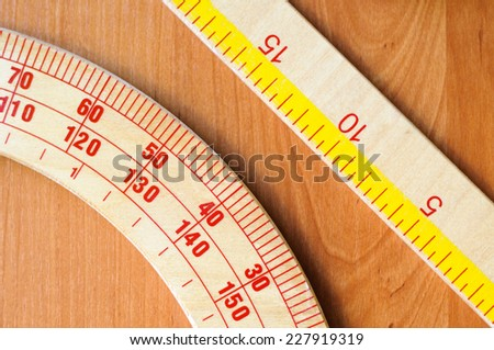 school equipment: protractor, ruler - stock photo