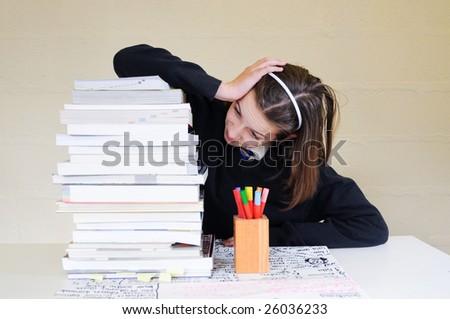 school girl and homework - stock photo
