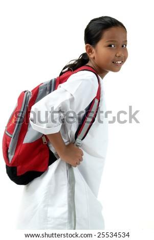 School Girl Bring Bag Isolated - stock photo
