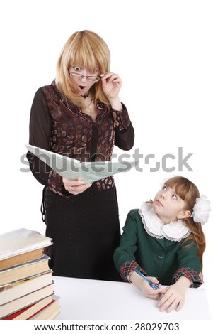 School girl gives teacher a shock. Woman in shock. Teacher and student share some one on one instruction time in a classroom environment. Education, learning, teaching.  Isolated on white in studio. - stock photo
