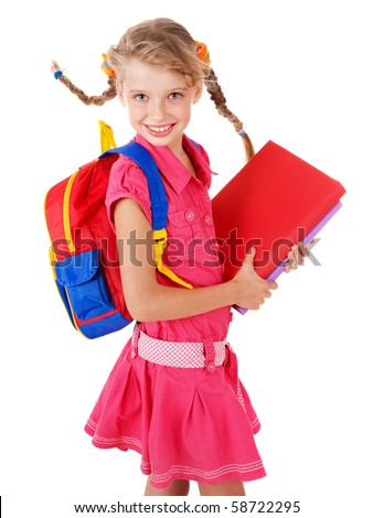 School girl  holding pile of books. Isolated. - stock photo