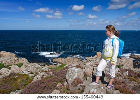 School girl on a outdoor trip - stock photo
