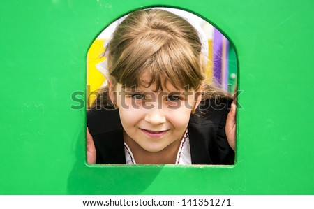 School Girl on the playground - stock photo