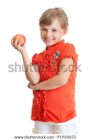 School girl portrait eating red apple isolated - stock photo