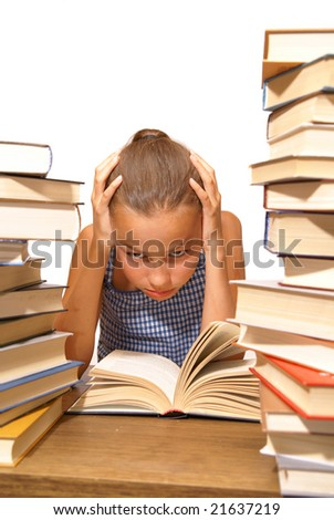 School girl reading book on white background