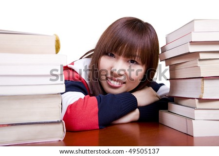 school girl relaxing, isolated on white. - stock photo