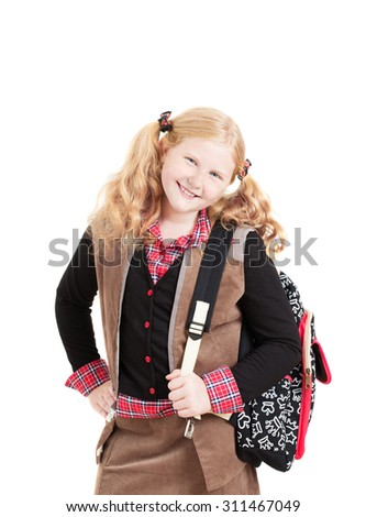 school girl student with bag isolated on white - stock photo