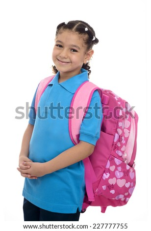 School Girl with Backpack Isolated on White Background - stock photo
