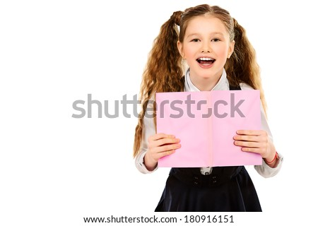 School girl with pink book. - stock photo