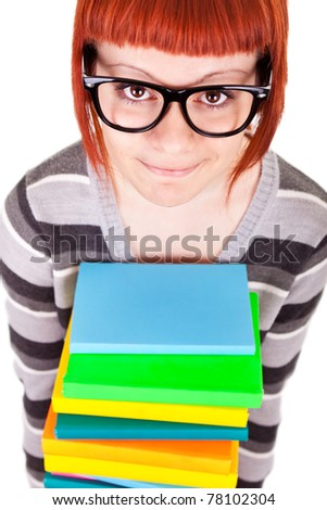 school girl with stack color books and glasses, isolated on white background - stock photo