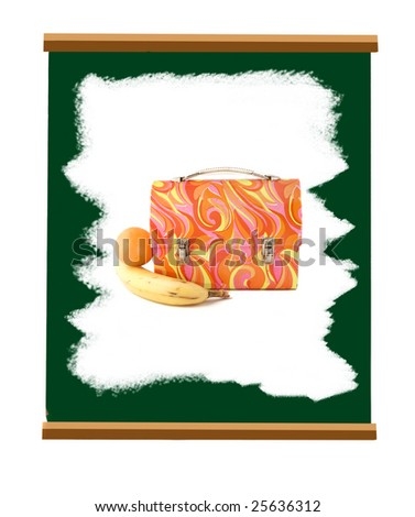 school green slate board whited out by white chalk with psychedelic lunch box with orange and banana - stock photo