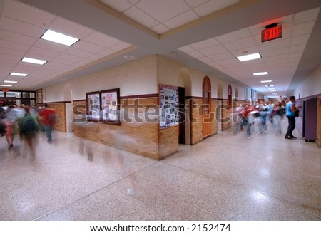 School Hallway 1 - stock photo