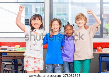School happiness. Multi racial kids embracing happy. Togetherness concept.