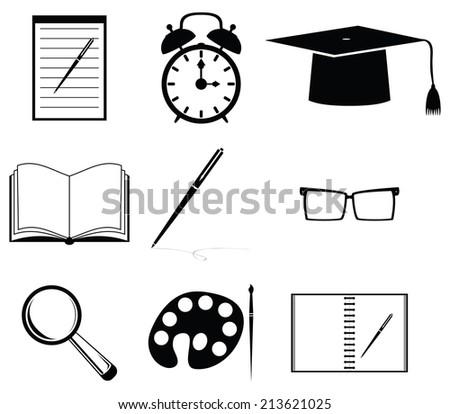 School icon set - stock photo