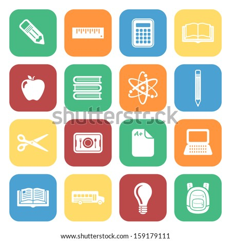 School Icon Set Colorful Square Icons
