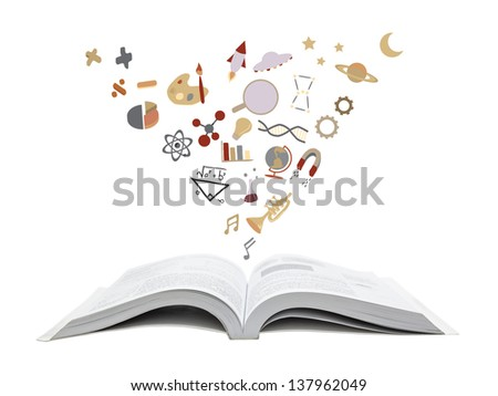 school icons coming out of a book - stock photo