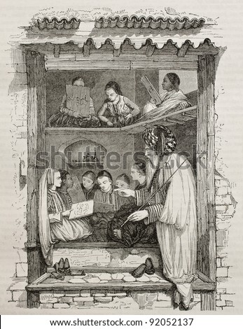 School in Algiers old illustration. Created by Wyld, published on Magasin Pittoresque, Paris, 1845 - stock photo