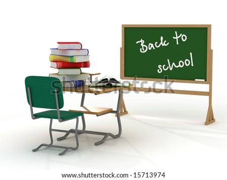 School interior. Back to school. 3D image. - stock photo