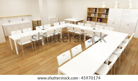 school interior 3d wood floor and white furniture - stock photo