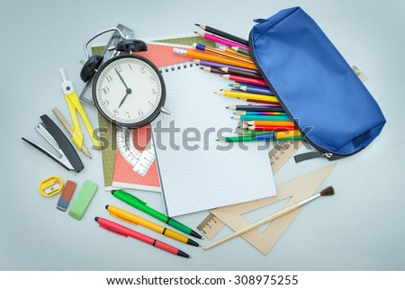 School items on the desk