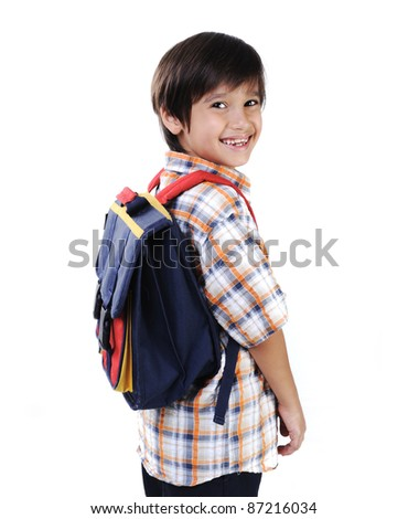 School kid isolated smiling - stock photo