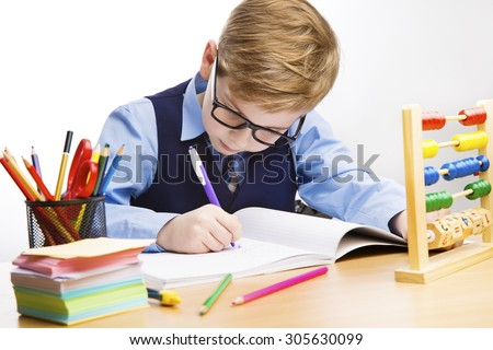 School Kid Writing, Student Kid Learn in Classroom, Young Boy in Glasses Write, Education