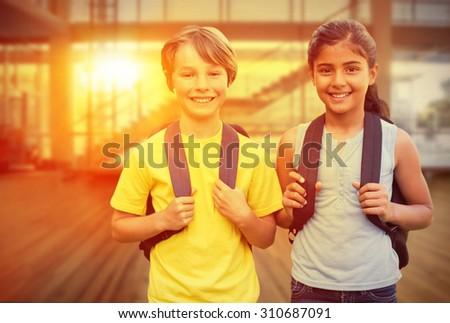 School kids against fitness studio - stock photo