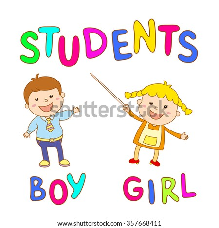 school kids - cute boy and girlb art - stock photo