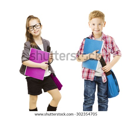 School Kids Group, Children in Uniform on White, Little Girl Boy with Student Folder, seven years old - stock photo
