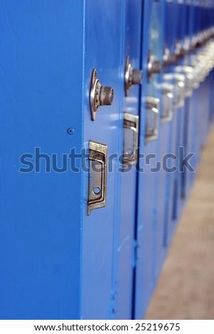 School Lockers (shallow DOF) - stock photo