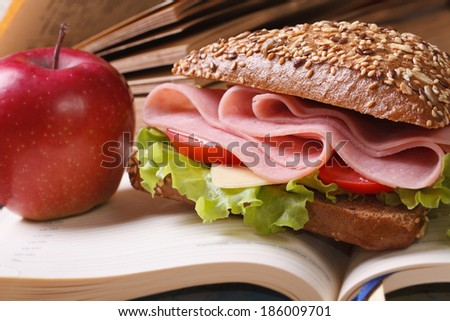 School lunch: a ham sandwich and an apple on open notebook close-up. horizontal   - stock photo