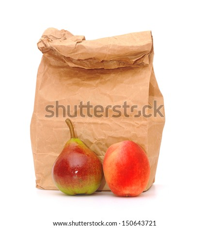 school lunch bag with fresh fruit on white - stock photo