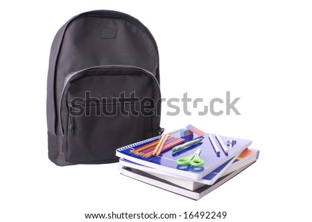 School material isolated on a white background - stock photo