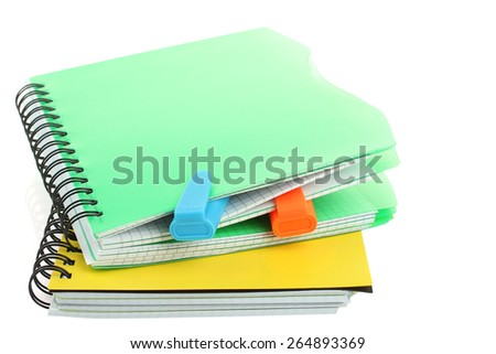 school notebooks and markers isolated - stock photo