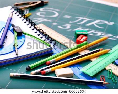 School office supplies  including board. - stock photo