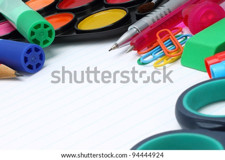 School office supplies on a white background - stock photo